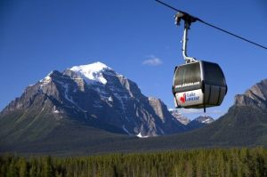 Gondola going up the slopes.Lake Louise
