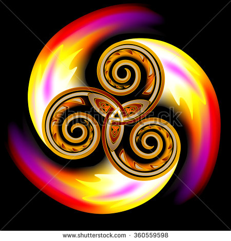 stock-vector-celtic-disk-ornament-with-triple-spiral-symbol-and-flames-vector-image-360559598