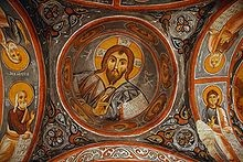 Fresco of Christ Pantocrator on the ceiling of Churches of Goreme