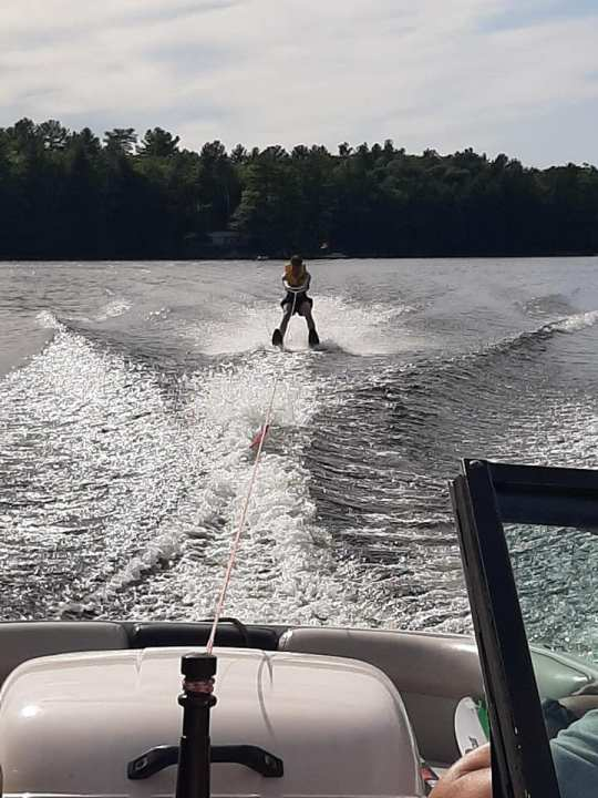Grandson Waterskiing for the first time.Go Home Lake